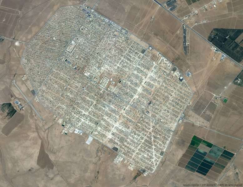 Satellite image of Zataari refugee camp